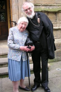 The Archbishop meets Ethel Scothern after the service