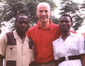 Dr Simon Challand with two colleagues at Kasese