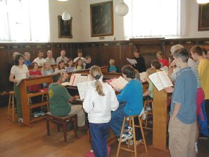 The choir rehearse in the song school at Chichester Cathedral